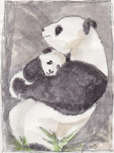 """Panda And Baby,"" a Bring-a-Smile watercolor by Clovis Heimsath, artist"