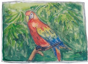 """Parrot,"" a Bring-a-Smile watercolor by Connor Heimsath, artist"