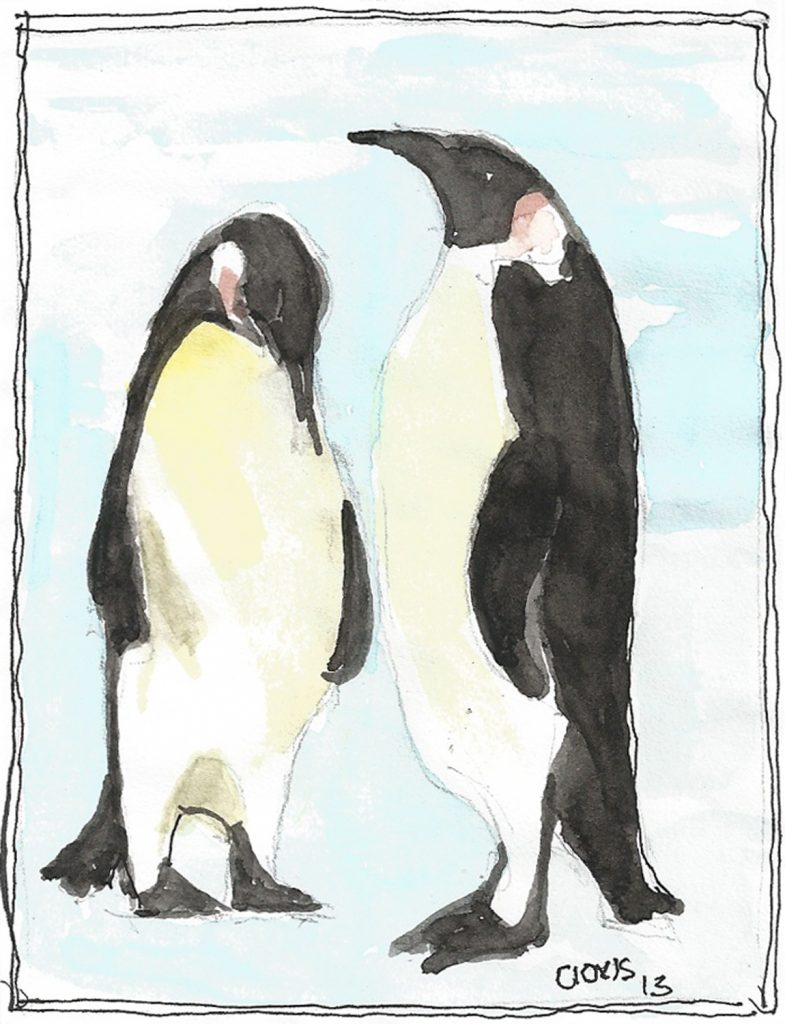 """Penguin,"" a Bring-a-Smile watercolor by Clovis Heimsath, artist"