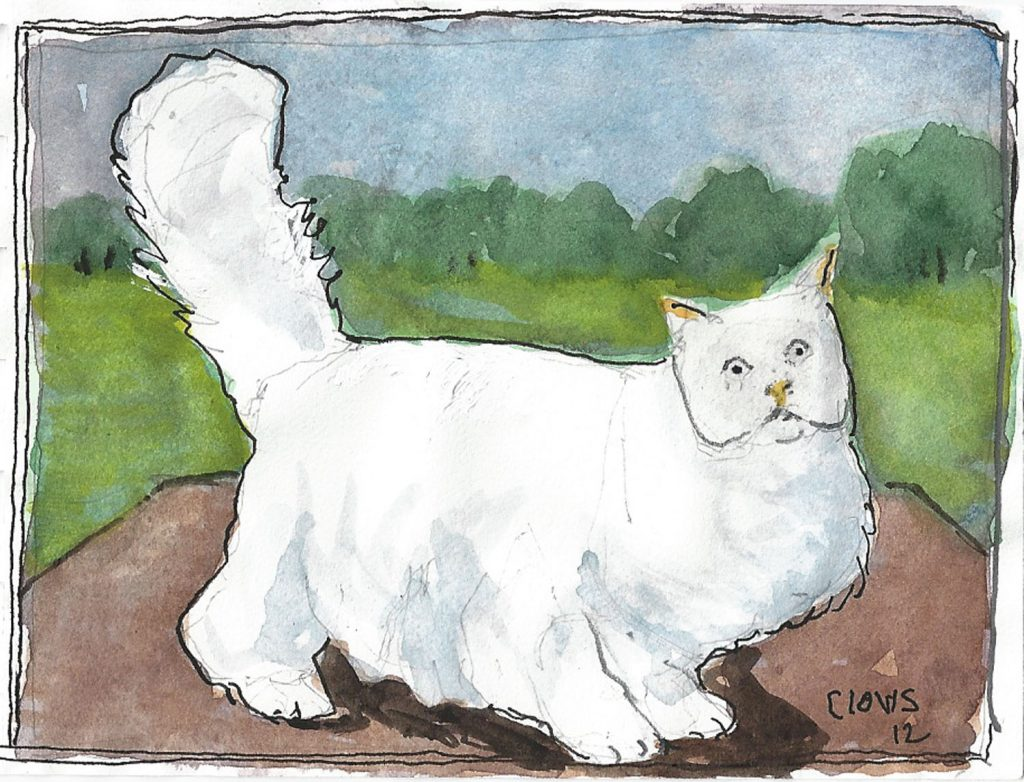 """Persian Cat,"" a Bring-a-Smile watercolor by Clovis Heimsath, artist"