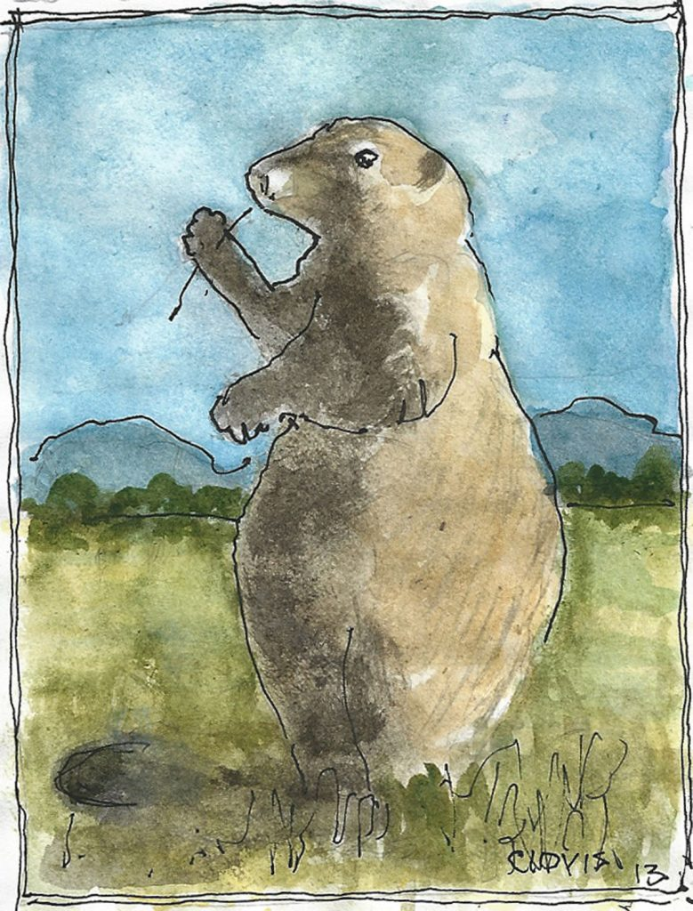"""Prairie Dog,"" a Bring-a-Smile watercolor by Clovis Heimsath, artist"