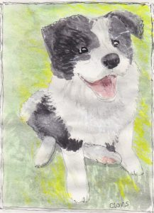 """Puppy ,"" a Bring-a-Smile watercolor by Clovis Heimsath, artist"