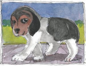 """Puppy 2,"" a Bring-a-Smile watercolor by Clovis Heimsath, artist"