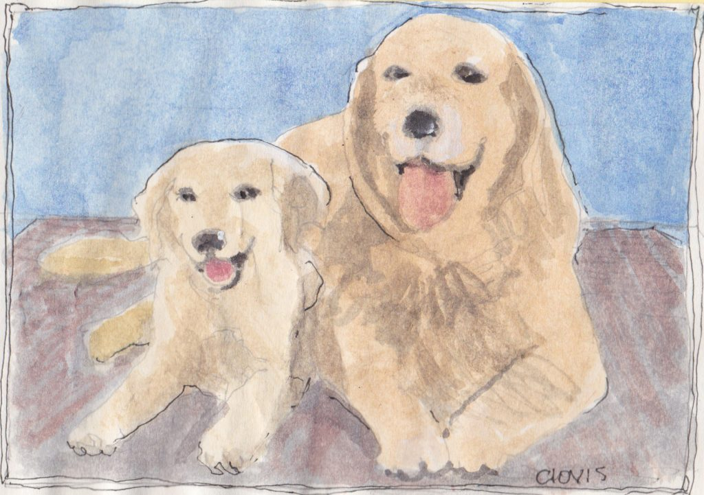 """Puppy And Mom,"" a Bring-a-Smile watercolor by Clovis Heimsath, artist"