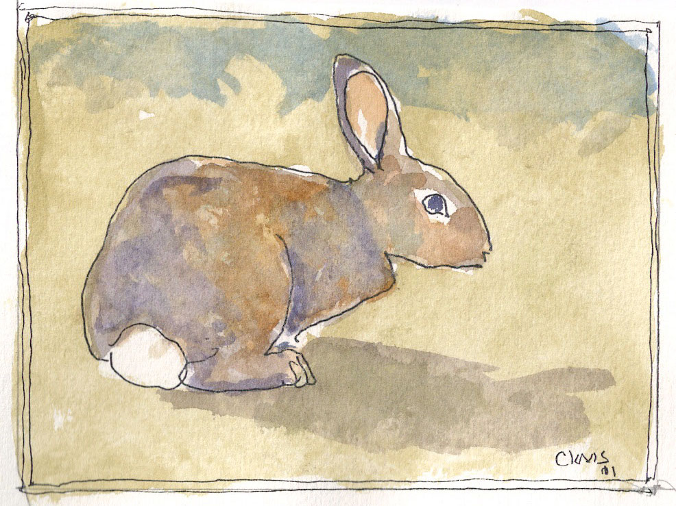 """Rabbit,"" a Bring-a-Smile watercolor by Clovis Heimsath, artist"