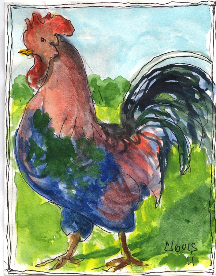 """Rooster,"" a Bring-a-Smile watercolor by Clovis Heimsath, artist"