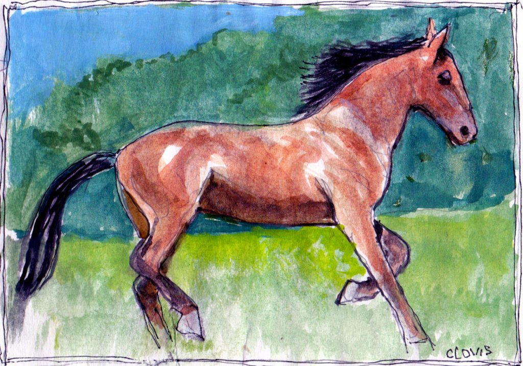 """Running Horse 2,"" a Bring-a-Smile watercolor by Clovis Heimsath, artist"