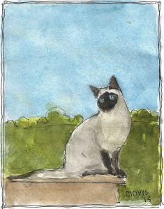 """Siamese,"" a Bring-a-Smile watercolor by Clovis Heimsath, artist"