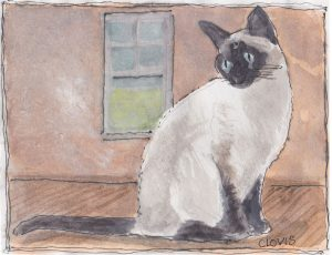 """Siamese Cat 6,"" a Bring-a-Smile watercolor by Clovis Heimsath, artist"