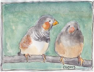 """Two Birds,"" a Bring-a-Smile watercolor by Clovis Heimsath, artist"