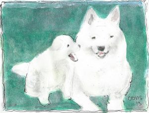 """Two Dogs,"" a Bring-a-Smile watercolor by Clovis Heimsath, artist"
