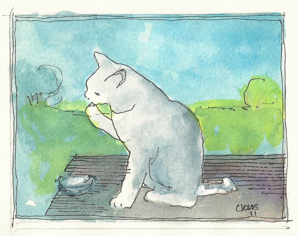 """White Cat 4,"" a Bring-a-Smile watercolor by Clovis Heimsath, artist"