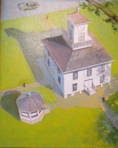 """3 D Court House,"" a painting by Clovis Heimsath, artist (Architecture)"