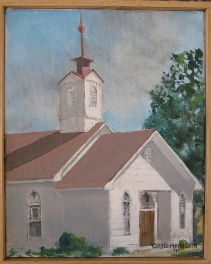 """Brethren Church,"" a painting by Clovis Heimsath, artist (Architecture)"