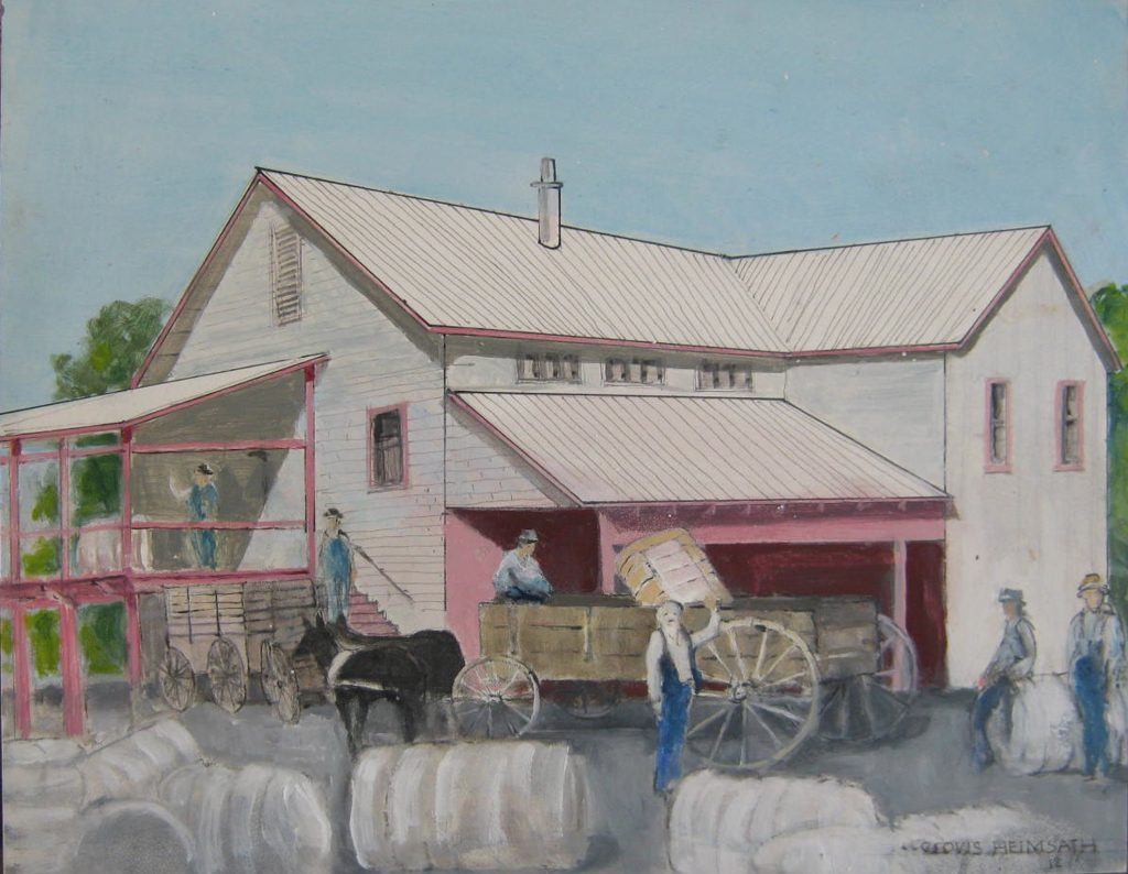 """Cotton Gin Old Ben,"" a painting by Clovis Heimsath, artist (Architecture)"