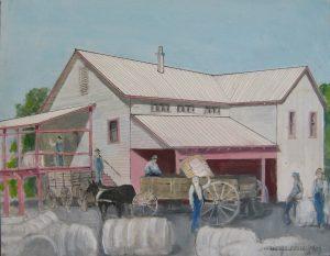 """""""Cotton Gin Old Ben,"""" a painting by Clovis Heimsath, artist (Architecture)"""