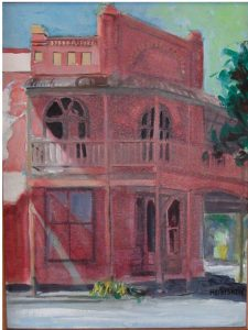 """""""Country Place Hotel,"""" a painting by Clovis Heimsath, artist (Architecture)"""