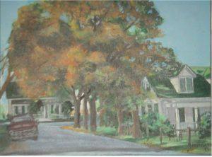 """Fayetteville Street,"" a painting by Clovis Heimsath, artist (Architecture)"