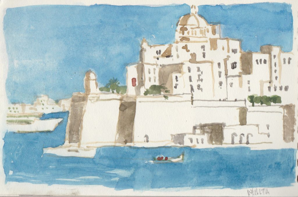 """Malta Harbor,"" a painting by Clovis Heimsath, artist (Architecture)"
