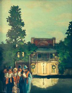 """New Years St Hotel,"" a painting by Clovis Heimsath, artist (Architecture)"