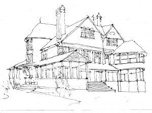 """""""Newport Sketch,"""" a painting by Clovis Heimsath, artist (Architecture)"""