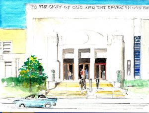 """Nineteenth Street Baptist Church,"" a watercolor by Clovis Heimsath, artist (Architecture)"