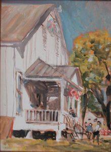 """SPJST Hall,"" a painting by Clovis Heimsath, artist"