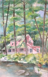 """""""Spofford New Hampshire House with Ruben,"""" a painting by Clovis Heimsath, artist (Architecture)"""