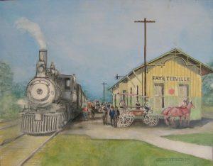 """""""Train Hills,"""" a painting by Clovis Heimsath, artist (Architecture)"""