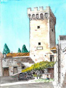 """Tuscany 05 Gargonza 300,"" a watercolor by Clovis Heimsath, artist (Architecture)"