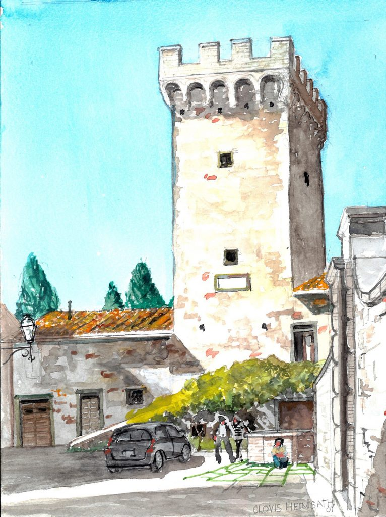 """Tuscany 05 Gargonza 300,"" a watercolor by Clovis Heimsath, artist (Architecture)"