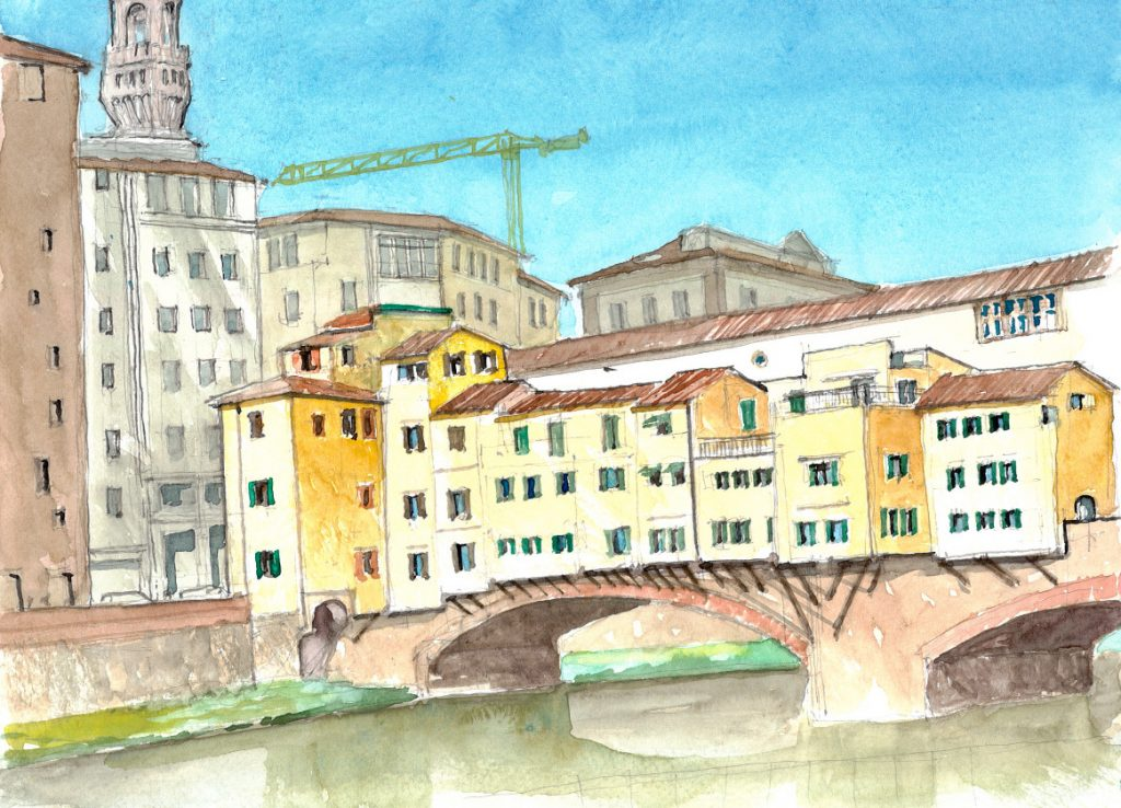 """Tuscany 05 Ponte Vecchio 4,"" a watercolor by Clovis Heimsath, artist (Architecture)"