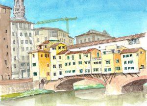 """Tuscany 05 Ponte Vecchio 4,"" a watercolor by Clovis Heimsath, artist (Architecture)"