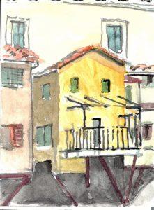 """Tuscany 05 Wc Ponte Vecchio 50 2,"" a watercolor by Clovis Heimsath, artist (Architecture)"