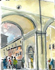 """Tuscany 05 Ponte Vecchio 50 3,"" a watercolor by Clovis Heimsath, artist (Architecture)"