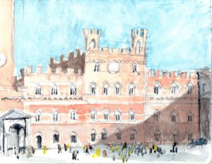 """""""Tuscany 05 Wc Siena Pv,"""" a painting by Clovis Heimsath, artist (Architecture)"""