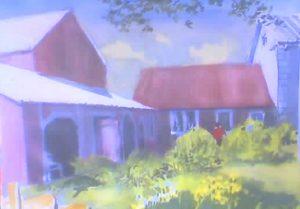 """Vermont Barns,"" a painting by Clovis Heimsath, artist (Architecture)"