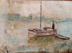 """Boat On Seine Julia,"" a painting by Clovis Heimsath, artist (Landscapes)"
