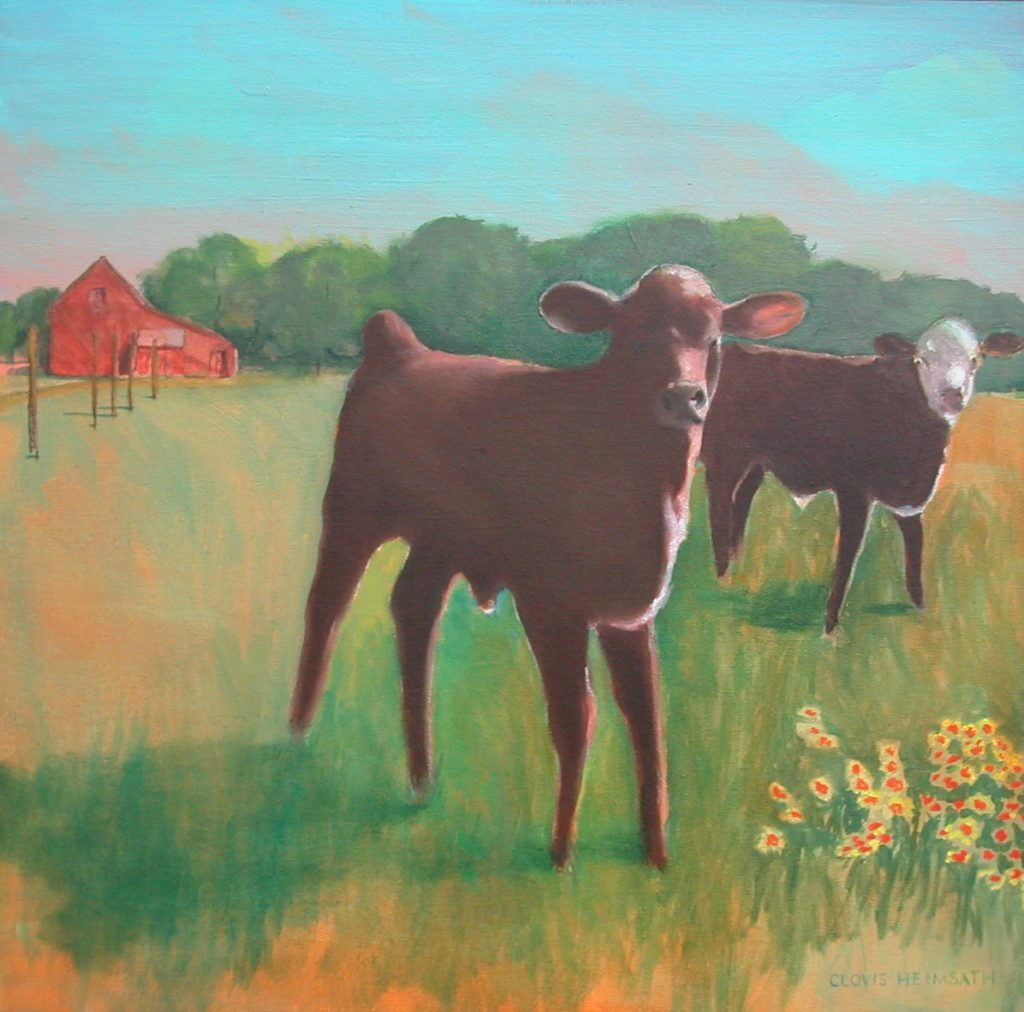 """Cows 2 2 07,"" a painting by Clovis Heimsath, artist (Landscapes)"