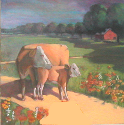 """Cows,"" a painting by Clovis Heimsath, artist (Landscapes)"