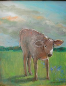 """Curious Calf 1,"" a painting by Clovis Heimsath, artist"