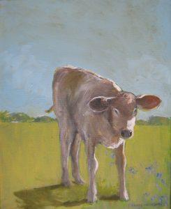 """Curious Calf 300,"" a painting by Clovis Heimsath, artist (Landscapes)"
