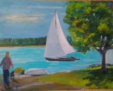 """Maine Boat,"" a painting by Clovis Heimsath, artist (Landscapes)"