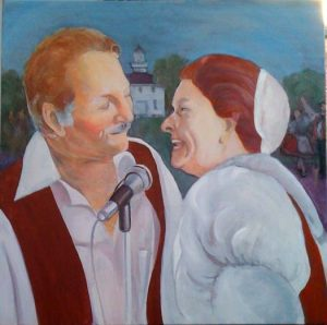 """Flo And Gil Baca,"" a painting by Clovis Heimsath, artist (People)"
