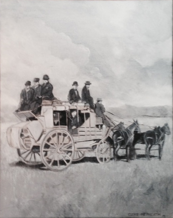 """Stage Coach,"" a painting by Clovis Heimsath, artist (People)"