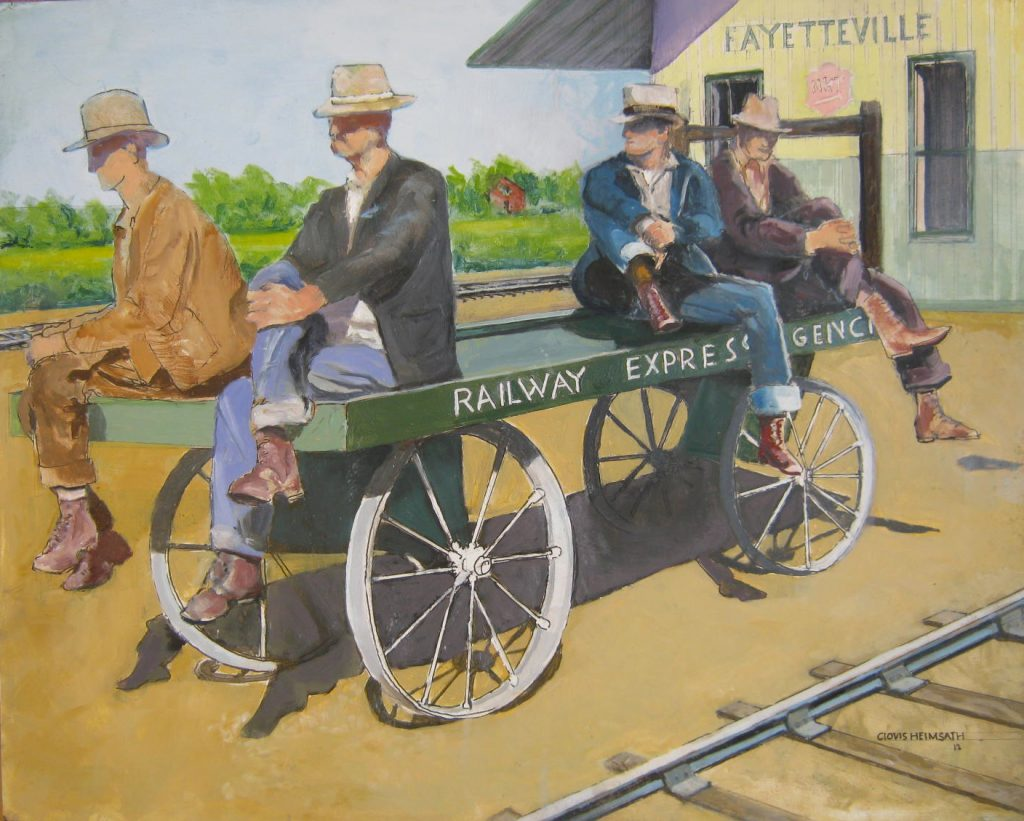 """Waiting For The Train,"" a painting by Clovis Heimsath, artist (People)"